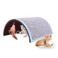 New Cat Scratch Board Arch Cat Scratch Carpet Funny Hide seek Pet Tunnel Toys with Feather Cats Teaser Tunnel Toy Grinding Claws