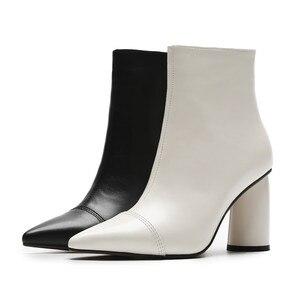 Image 5 - MORAZORA 2020 מכירה לוהטת קרסול מגפי נשים הבוהן מחודדת עור אמיתי מגפי פשוט עקבים גבוהים שמלת נעלי סתיו נעלי חורף