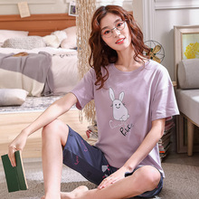 Jimiko women Pyjama short-sleeved T-shirt shorts 2 pcs set pajamas cartoon rabbit print Sleep Lounge set Pajama mujer summera cartoon print pajama set