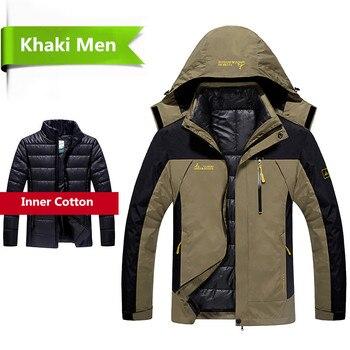 2018 hiver veste hommes 2 en 1 vêtement extérieur épaissir chaud parka manteau Patchwork imperméable capuche doudoune taille L ~ 6XL doudoune homme