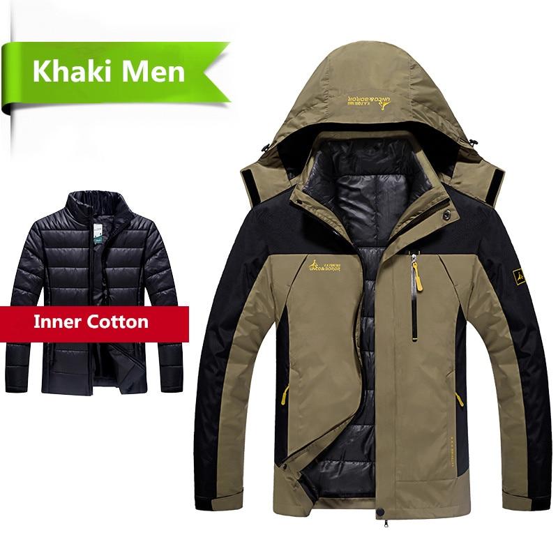 2018 Winter Jacket Men 2 In 1 Outwear Thicken Warm Parka Coat Patchwork Waterproof Hood Down Jacket Size L~6XL Doudoune Homme