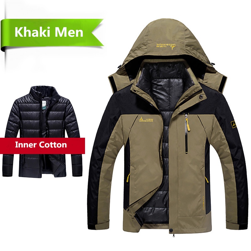 2018 Winter jacket men 2 in 1 outwear thicken warm parka   coat   Patchwork waterproof hood   Down   Jacket size L~6XL doudoune homme