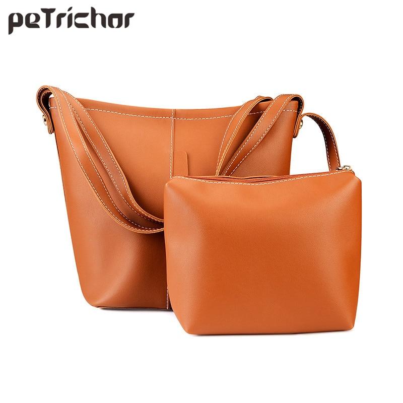 Petrichor 유명 브랜드 패션 여성 복합 가방 여성 Soild 어깨 & 핸드백 부드러운 PU 가죽 Hasp Bucket for Ladies
