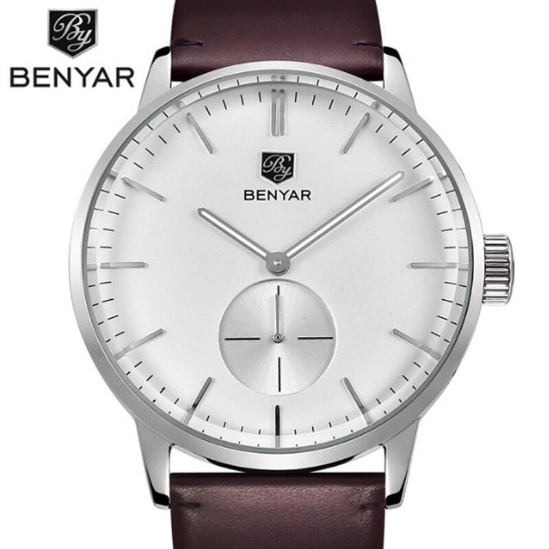 Benyar hommes de montre haut de marque de luxe hommes militaire montre de sport lumineuse calendrier en cuir multi-fonction étanche quartz montre