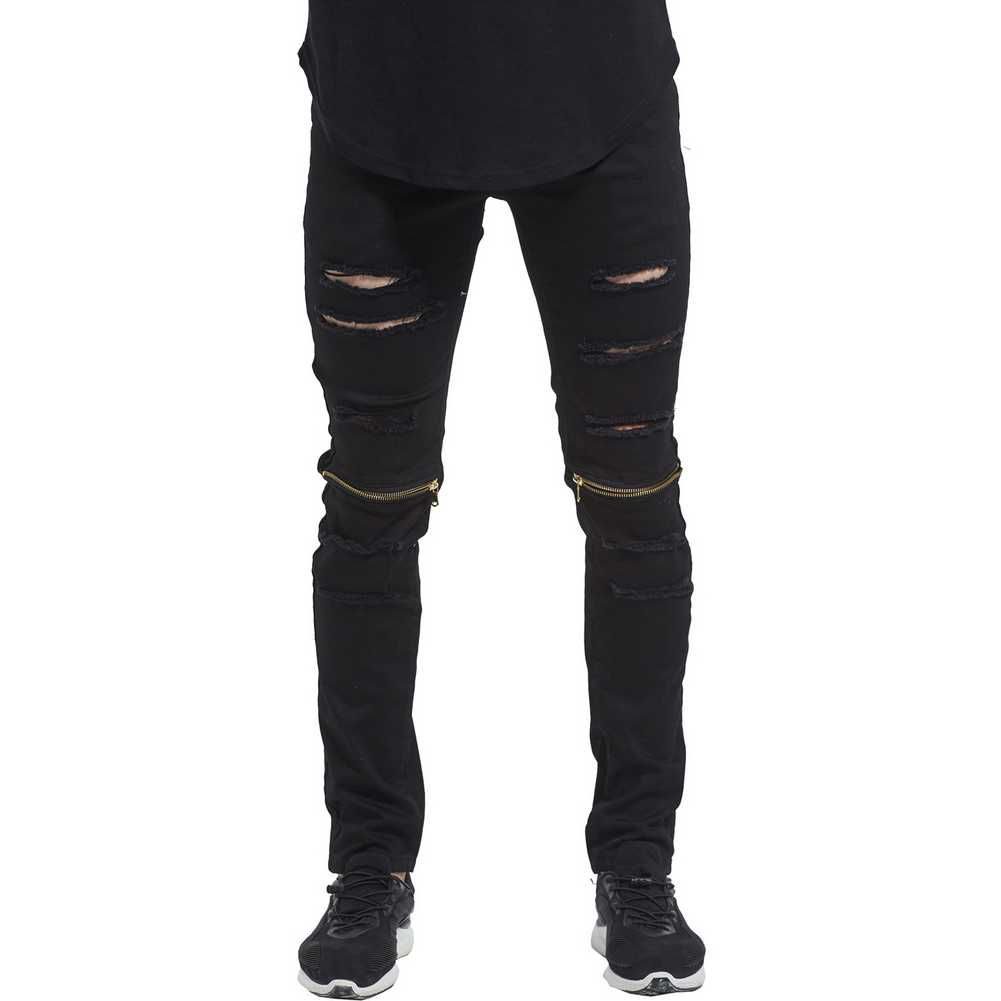 14fa0644b76 ... 2017 Men Zipper Knee Biker Skinny Jeans Fashion Casual Designer Brand  Distressed Destroyed Hole Ripped Jeans ...