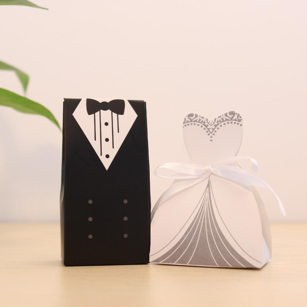 100Pcs Candy Box Bridal Gift Cases Groom Tuxedo Dress Gown Ribbon ...