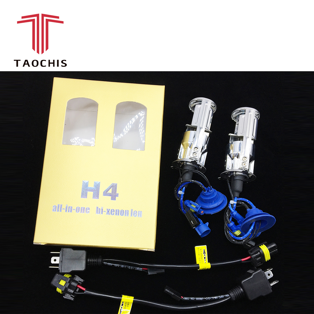 TAOCHIS 2x 55W H4 LHD Bi-Xenon Bulbs Lossless HID Bulb Light Lamp Hi/Lo Beam Headlight with Mini Projector Lens 4300K 6000K 2x no errors xenon white 50w p13w c ree led bulbs drl for 2008 12 audi b8 model a4 or s4 with halogen headlight trims