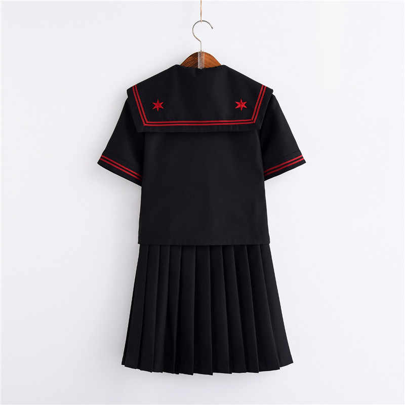 Vermelho sakura bordados uniformes japoneses preto bonito marinheiro topos plissado saia conjuntos completos cosplay jk traje S-XXL