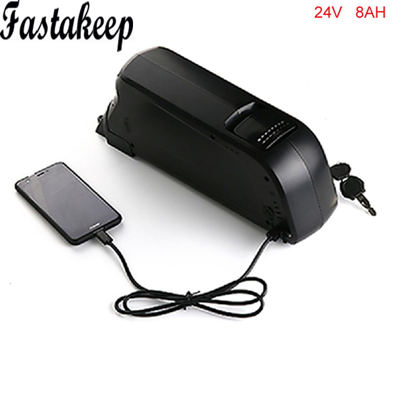 Electric Bicycle Battery 24v 8ah bottle case Lithium ion Battery Pack with charger +bms