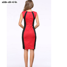 2018 Summer Women's Bodycon Patchwork Sleeveless Fashion Pencil Midi Sexy Casual Elegant Dresses Plus Size 3xl Tunic Dress
