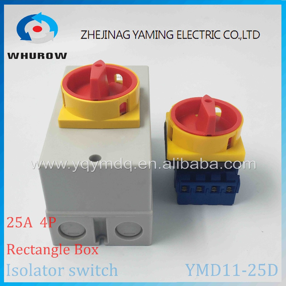 YMD11-25D 4P IP66 IP67 Isolator switch with protective box cover waterproof rotary changeover switch on-off power cutoff yaming locking isolator switch with padlock panel 100a 4 phases 2 position on off changeover rotary switch ymd11 100a 4p