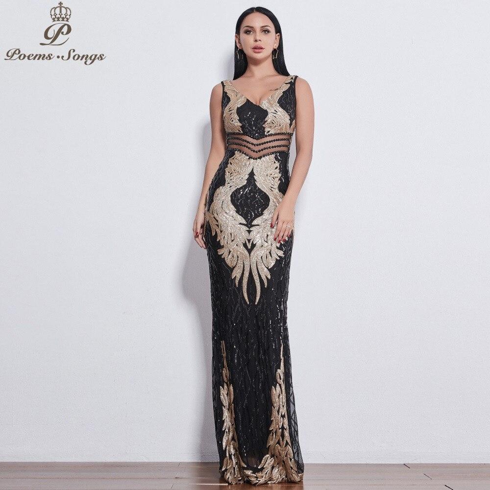 Poèmes chansons 2019 belles ailes d'ange Sequin robes de soirée pour les femmes long vestido de festa robes de soirée vestidos elegante