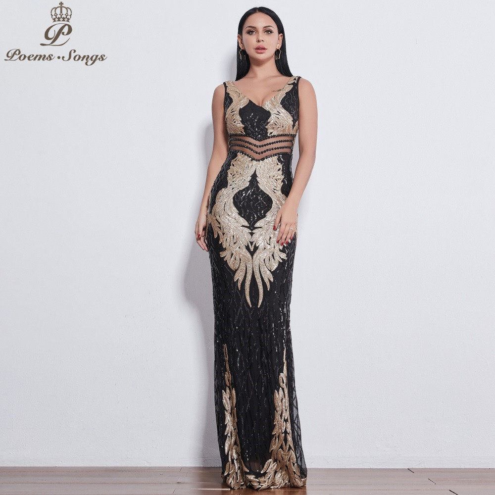 Poems Songs 2019 beautiful Angel wings Sequin Evening dresses for women long vestido de festa evening gowns vestidos elegante