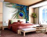 Custom modern 3d peacock feather wallpaper fashion mural tv sofa bedroom living room cafe bar restaurant setting wall