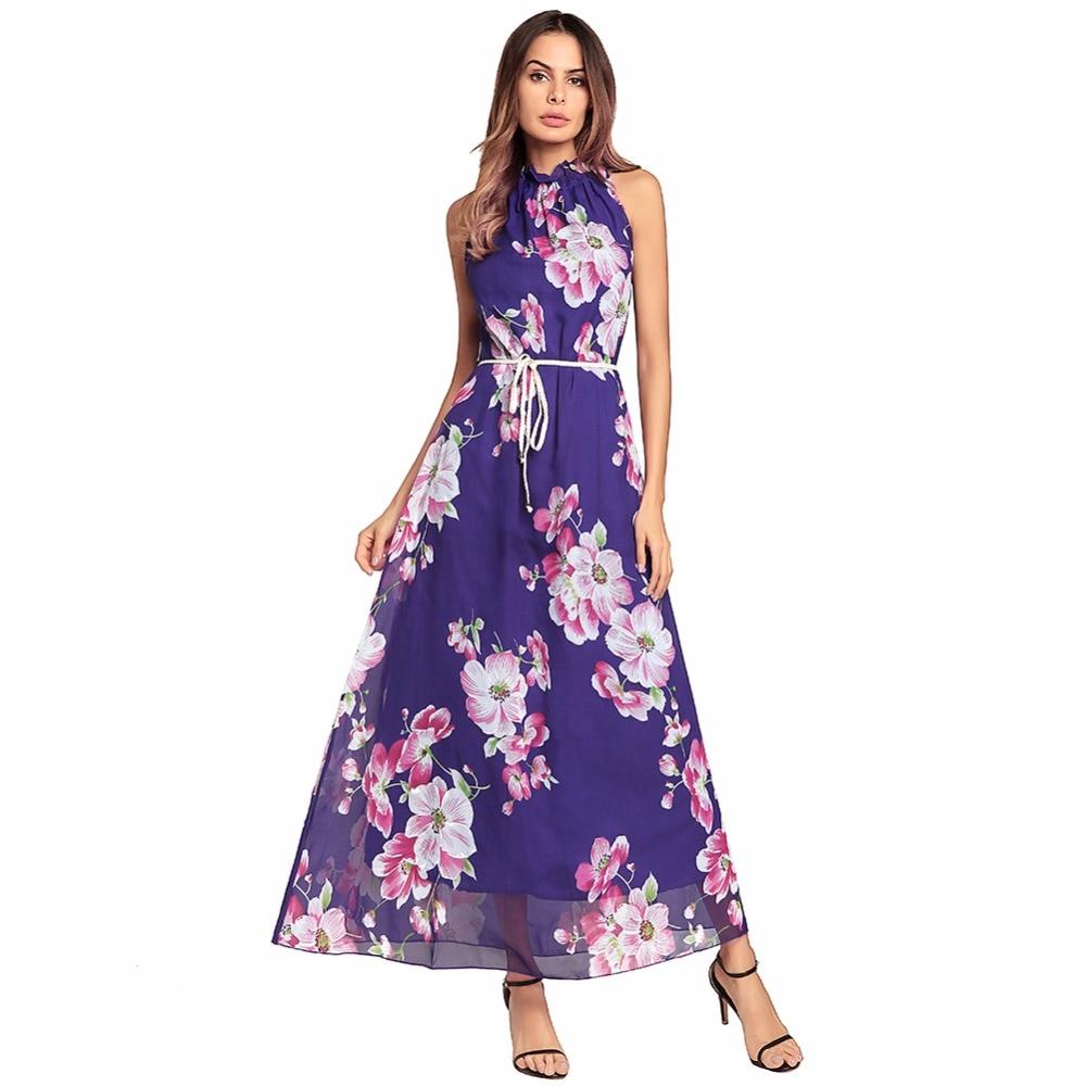 Women Sexy Chiffon Lace Up Dress sleeveless beach dress Mock Neck ...