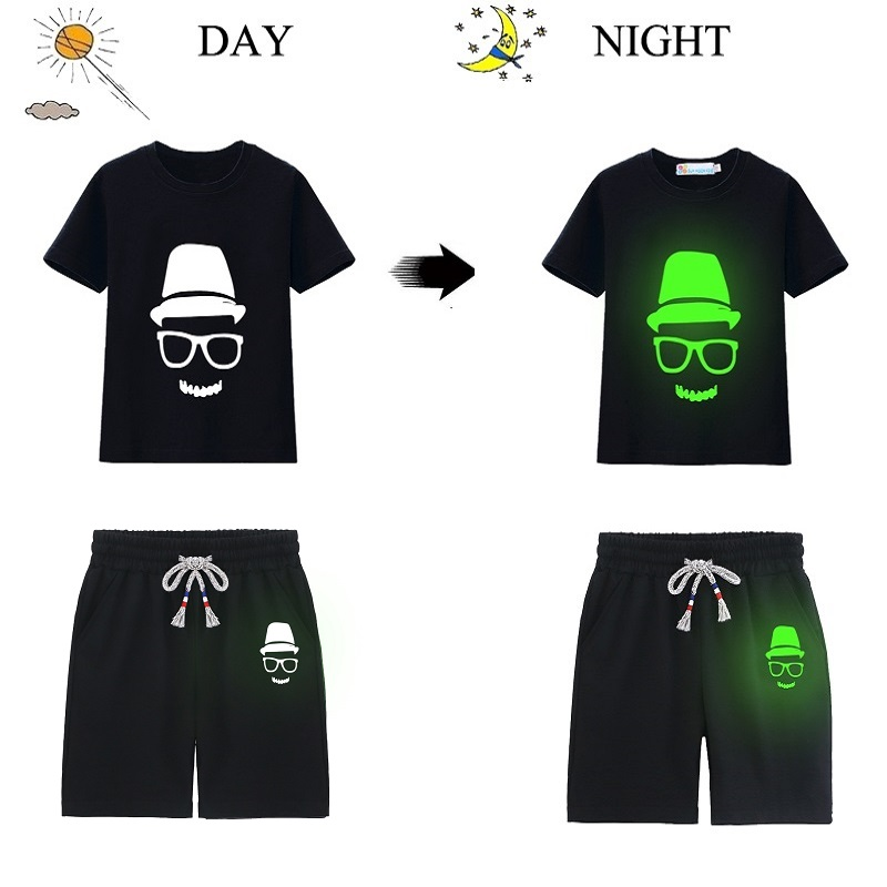 Hooyi Luminous Skull Boys Clothes Sets Black T-Shirt Pants Children Sport Suits Cotton Fluorescent Tee Shirts Girl Clothing Tops 2018 newest baby boy clothes suits 100% cotton children t shirts shorts pants 2 3 4 5 6 7 years sleeved tee shirts panties 2pcs