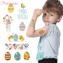 Patimate 1pc Cute Lovely Temporary Rabbit Easter Stickers Happy Easster Decorations Supplies Bunny Eggs Baby Shower Boy Birthday