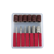 6pcs Professional Manicure Nail Drills Files Bits Nail Art Beauty Salon Drill Set Kit with Sanding Cover