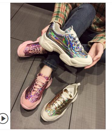 2019 femmes baskets plate-forme baskets Bling Fluorescent holographique papa Chunky formateurs vulcaniser chaussures appartements femmes chaussures de Sport