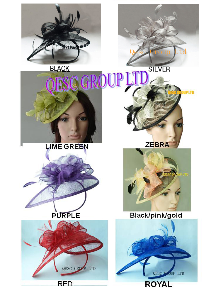 NEW HOT sinamay fascinator/sinamay hat in SPECIAL shape w/feathers,8 colors.FREE SHIPPING