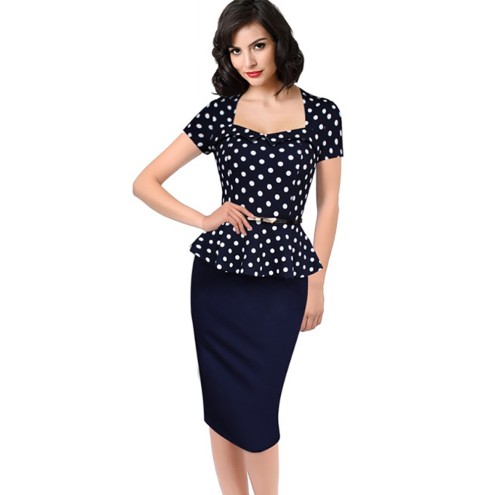 e4d9d85c38d18 Oxiuly 2016 New Women Vintage Peplum Dot Print Fake two Slimming Work  Business Casual Lotus leaf hem Party Sheath Pencil Dress