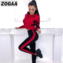 ZOGAA 2019 New Ladies Casual Suit Striped Color Matching Sweater + Trousers 2 Sets of Women Tracksuit tracksuit women