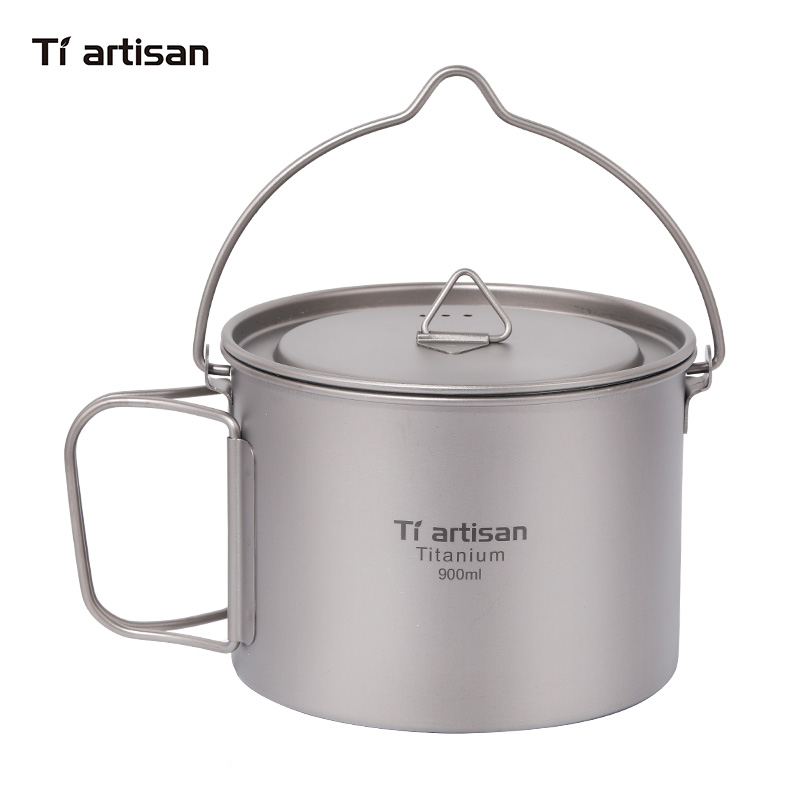 Tiartisan 900ml Pure Titanium Pot with bail handle Outdoor Camping Ultralight Picnic Cookware with Cover Ta8316A
