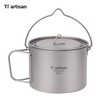 Tiartisan 900ml Pure Titanium Pot with bail handle Outdoor Camping Ultralight Picnic Cookware with Cover Ta8316A BH