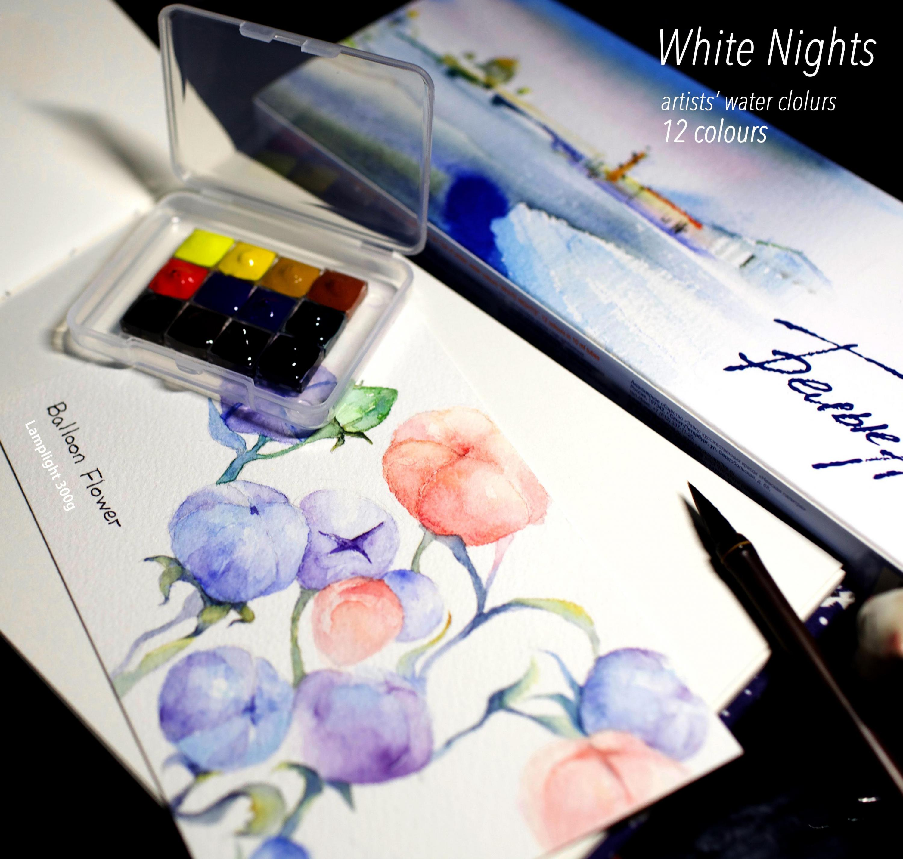 Russian White Night White Nights Watercolors, Artists Master High Concentration , 12 Colors, 0.5ml, Sub Dispensing Package