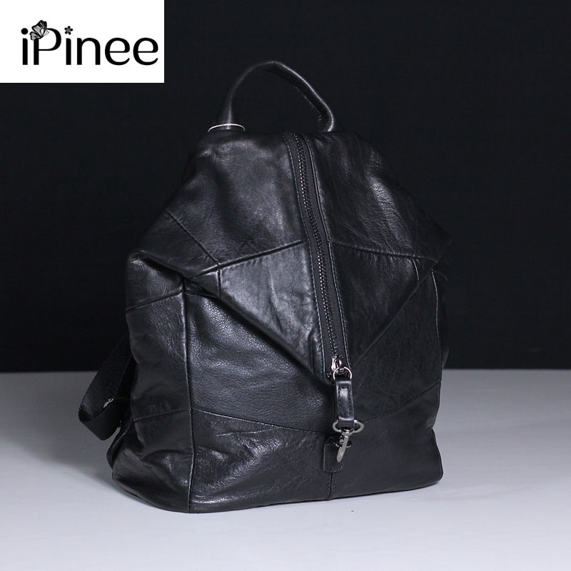IPinee Women Cow Leather Backpack Large Capacity Soft Genuine Leather School Bags For Ladies High Quality Travel Bags