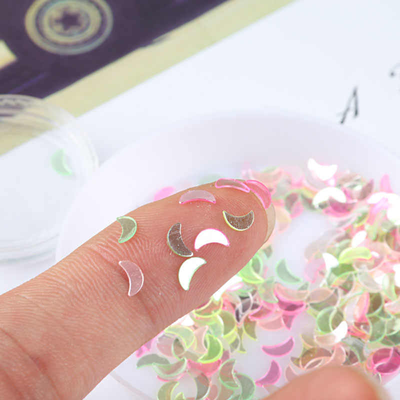 10g Ультра тонкий прозрачный сверкающие 3 мм 4 мм Звезда Сердце Слива Луна пайетками для ногтей DIY Красота /Свадебный декор конфетти