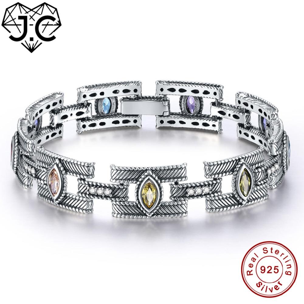J C Women Classic Style Amethyst Citrine Peridot Topaz Fine Jewelry Bracelets Genuine 925 Standard Sterling