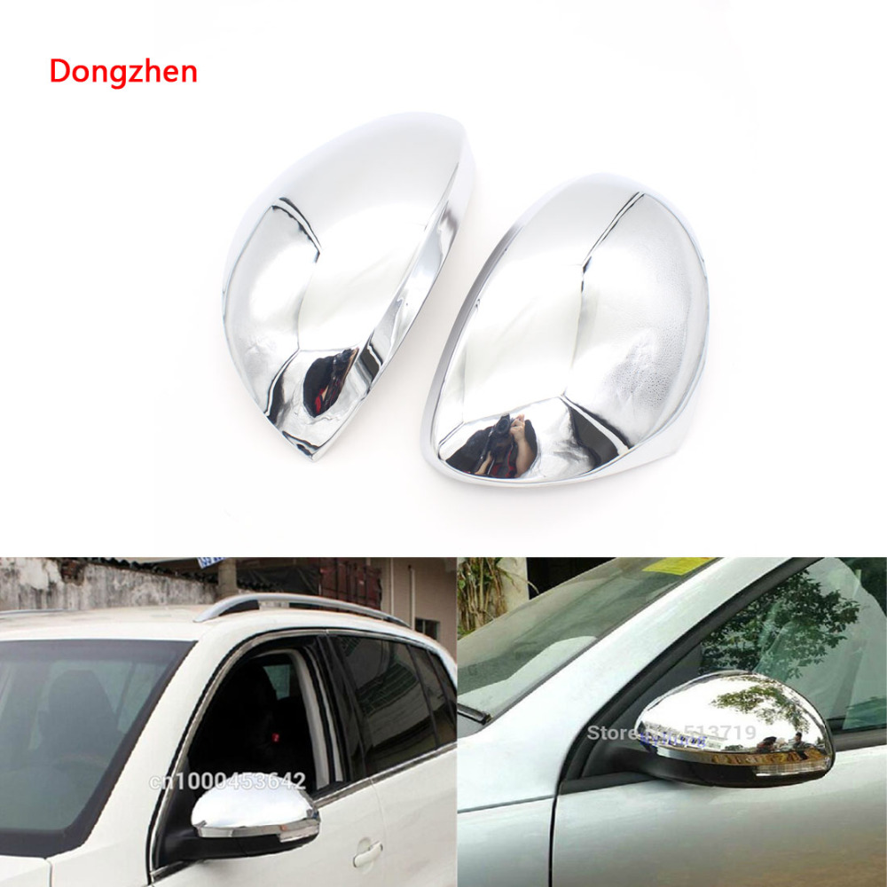 Dongzhen 2X Exterior Accessories Car Side Mirror Cover Rear View Mirror For Volkswagen VW Tiguan 2010 2011 2012 2013 2014 Chrome fit for volkswagen vw tiguan rear trunk scuff plate stainless steel 2010 2011 2012 2013 tiguan car styling auto accessories