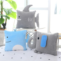 Candice guo! super cute plush toy cartoon elephant shark dolphin soft stuffed cushion quilt blanket birthday Christmas gift 1pc