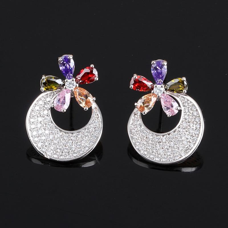 Rongqing богемный моды 925 стерлингового серебра шпильки циркон круглый цветок круг Серьги для Для женщин и Обувь для девочек Никель Бесплатная