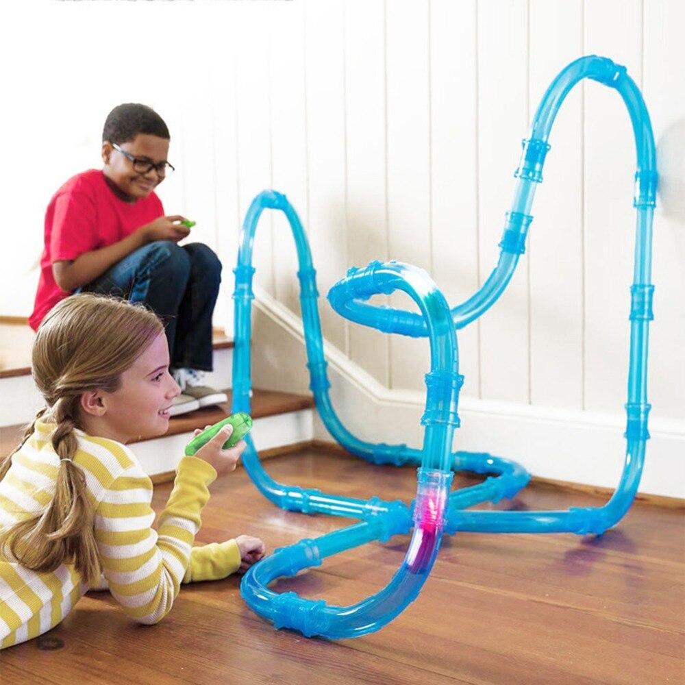 RC coche de juguete niños tubos de pista de carreras de Control remoto tubos juguetes luz de Flash DIY edificio tubo Juguetes regalo de Cumpleaños de niños