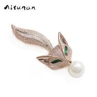 Aitunan Quality Elegant Charm Fox Rhinestones Brooches Jewelry Austrian Crystal Imitation Pearl Brooch Dress Wedding Jewelry