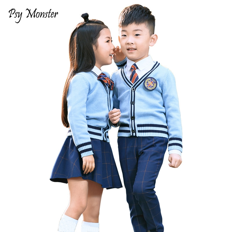 Kids Formal Suit Flower Girls Boys School Uniforms Shirt + Sweater + Pant Tutu Skirt + BowTie Set Performing Suit Costume A26
