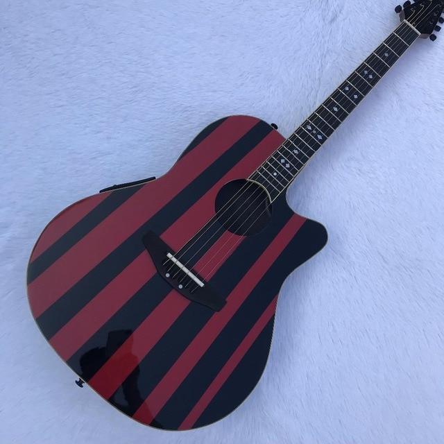 41 polegada canto vermelho e preto tartaruga de volta guitarra, braço de ébano, lado traseiro de fibra de carbono, frente abeto verniz, genuíno tartaruga