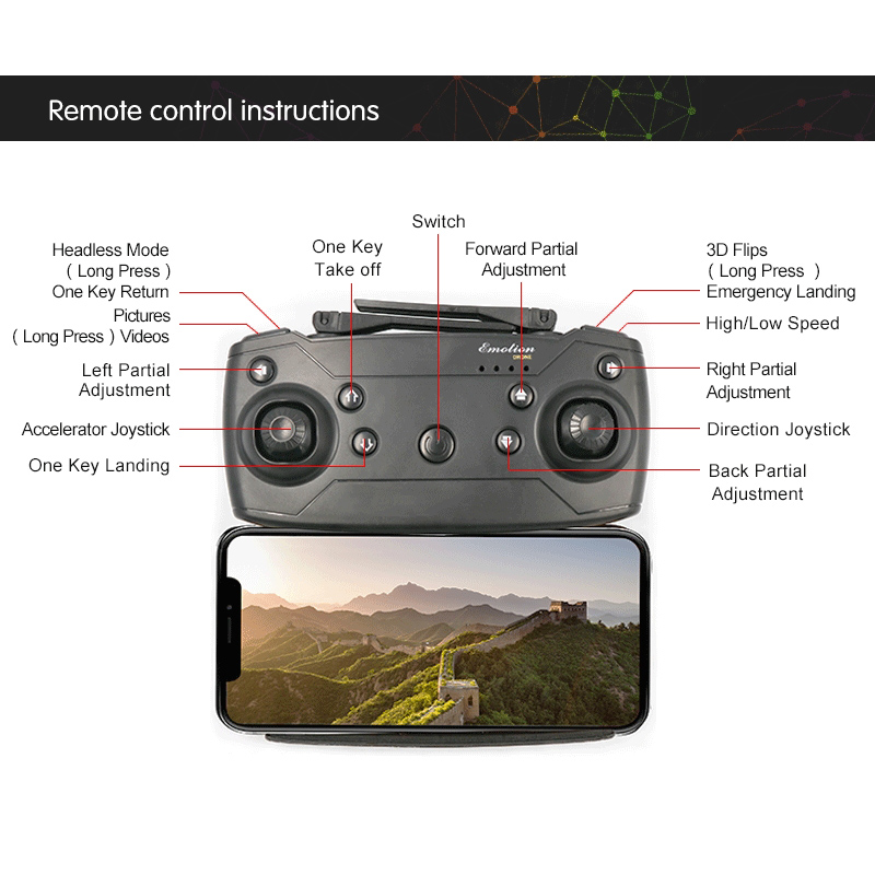Image 5 - RC Helicopter Wiht HD Camera Mini Foldable Pocket Drone With Headless Mode RC Quadcopter Drone With High Hold Mode Gift For Kids-in RC Helicopters from Toys & Hobbies