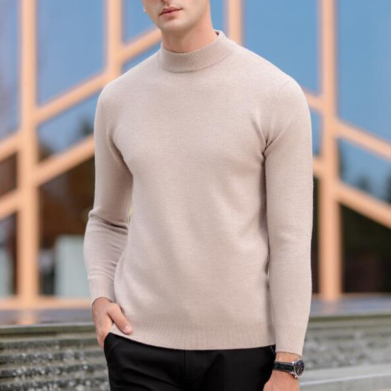 Men Natural Pure Cashmere Sweater Turleneck Pullovers Basic Hot Match Spring Autumn New For Men tbsr496