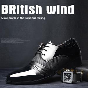 Image 5 - REETENE MenS Dress Shoes Fashion Pu Leather Shoes Men Brands Wedding Oxford Shoes for MenS Breathable Men Formal Footwear