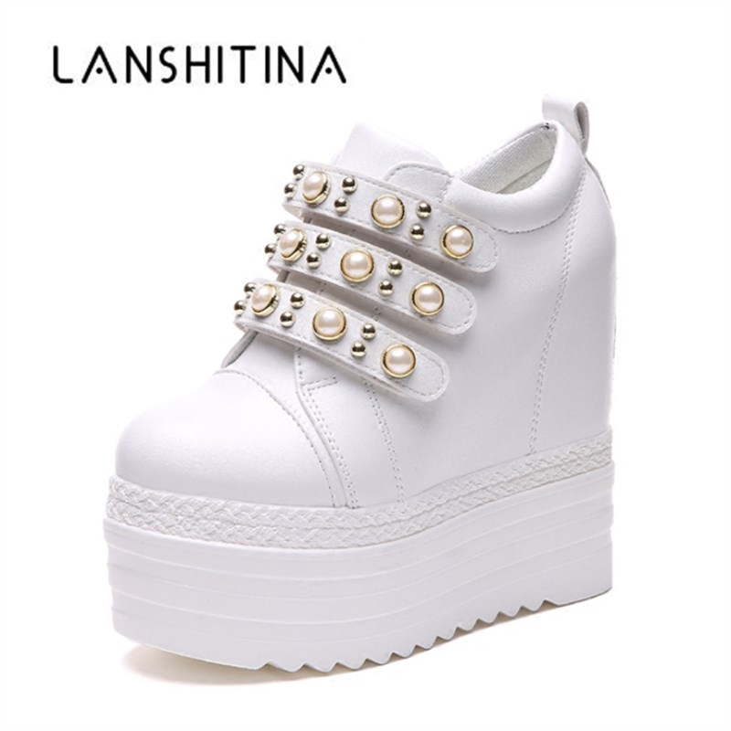 2018 Autumn Woman Ankle Boots High Heels Platform Shoes Height Increased 13CM Breathable Sneakers High Top White Casual Shoes2018 Autumn Woman Ankle Boots High Heels Platform Shoes Height Increased 13CM Breathable Sneakers High Top White Casual Shoes