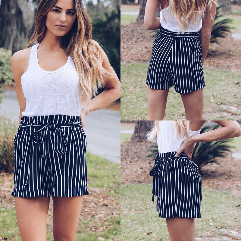 New Causal Shorts Striped Womens Holiday Belted High Waist Ladies Summer Beach Hot Shorts