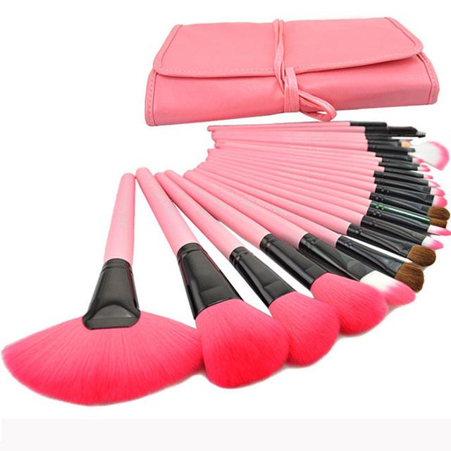 2015 Caliente Profesional 24 Unids/set Rosa Maquillaje Pinceles de Maquillaje Para Usted Cepillo Cosmético del Sistema de Cepillos Incluyendo un Estuche de Lujo!