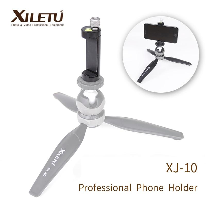 XILETU XJ-10 Professional Phone Holder Smartphone Clip For Arca Swiss Tripod iPhone Samsung With 1/4' Screw