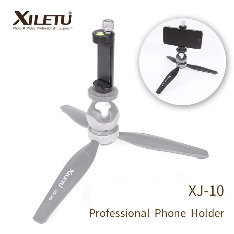 XILETU XJ-10 Professional Phone Holder Smartphone Clip For Arca Swiss Tripod iPhone Samsung With 1/4' Screw