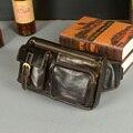 2015 óleo de depilação de couro pacote de cintura masculina do vintage de couro genuíno multifuncional anti-roubo saco do mensageiro fanny