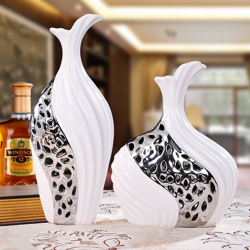 living room decoration decoration Home Furnishing vase landing craft ornaments white wed ...
