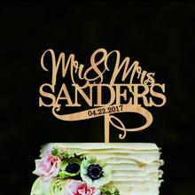 Mr and Mrs свадебный торт Топпер персонализированное имя свадебный торт Топпер украшения для свадебного торта изготовленный на заказ Топпер для торта для свадьбы